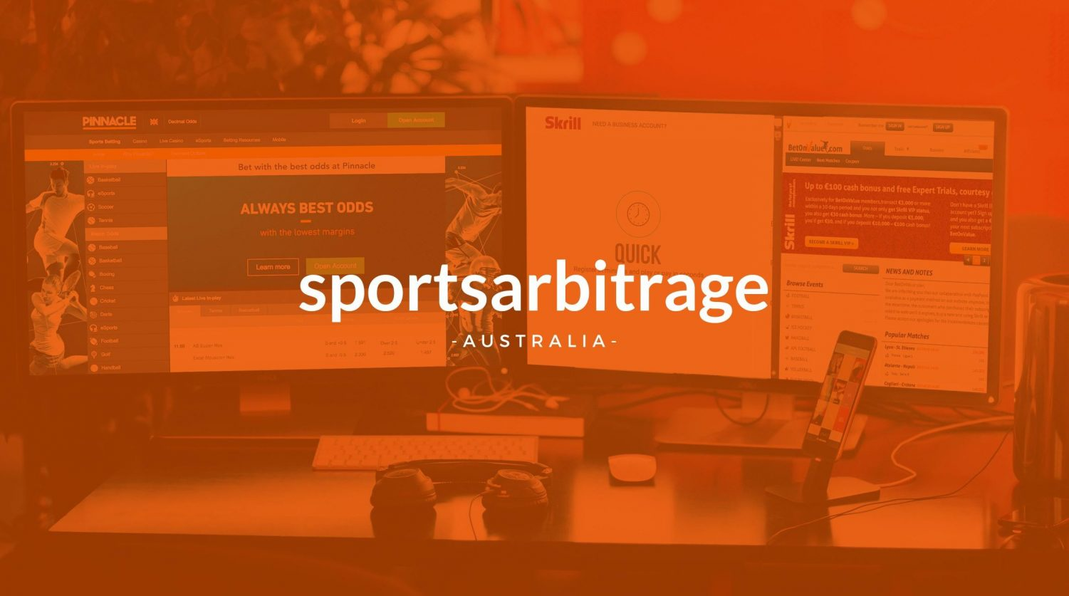 Sports Abritrage Australia Banner. Orange background with computers